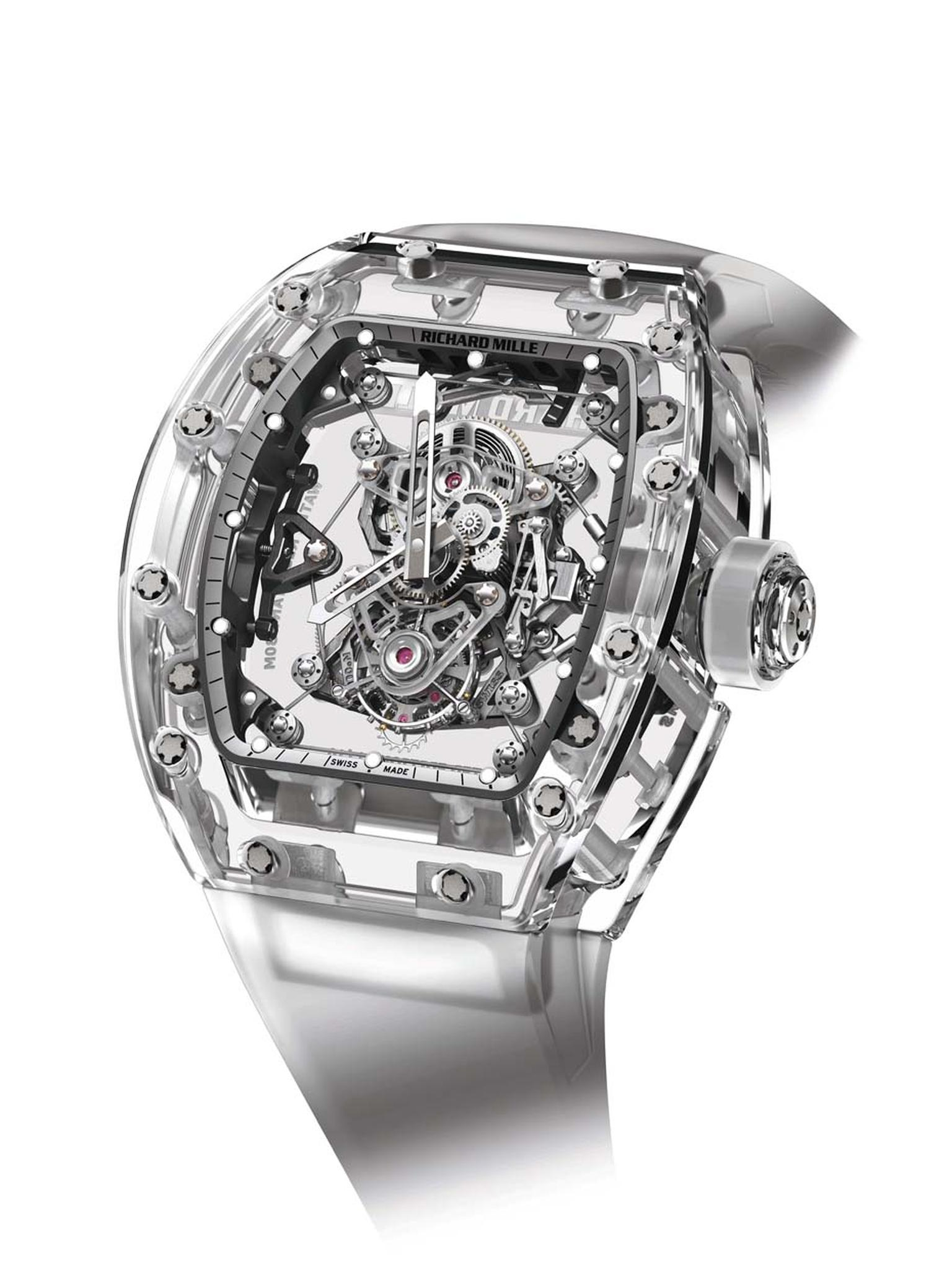 Richard Mille's $2 million RM56-02 Sapphire Tourbillon features a transparent case made from sapphire crystal