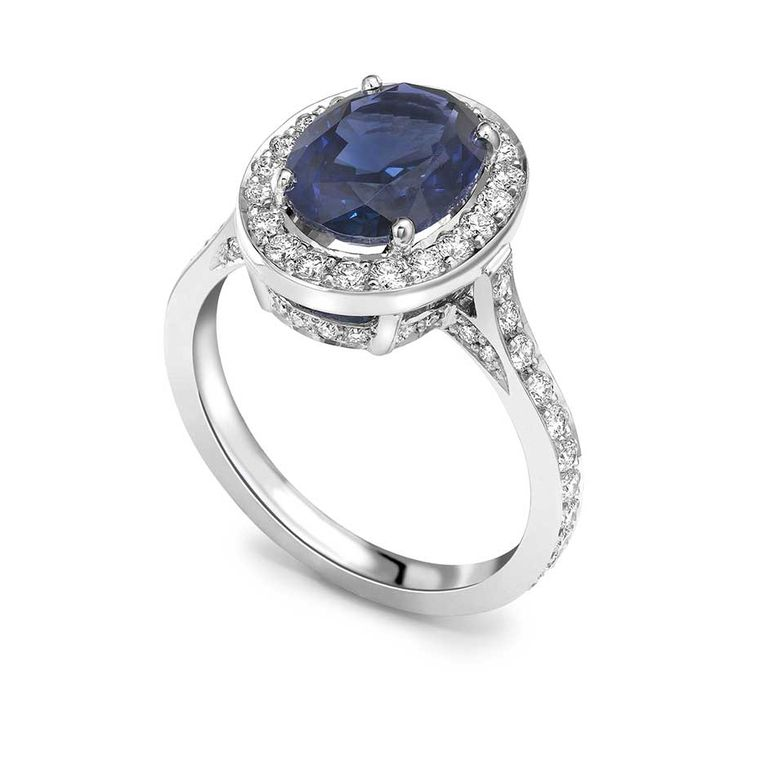 Theo Fennell sapphire engagement ring in white gold, set with a 2.82ct natural oval sapphire and pavé diamonds (£9,250).