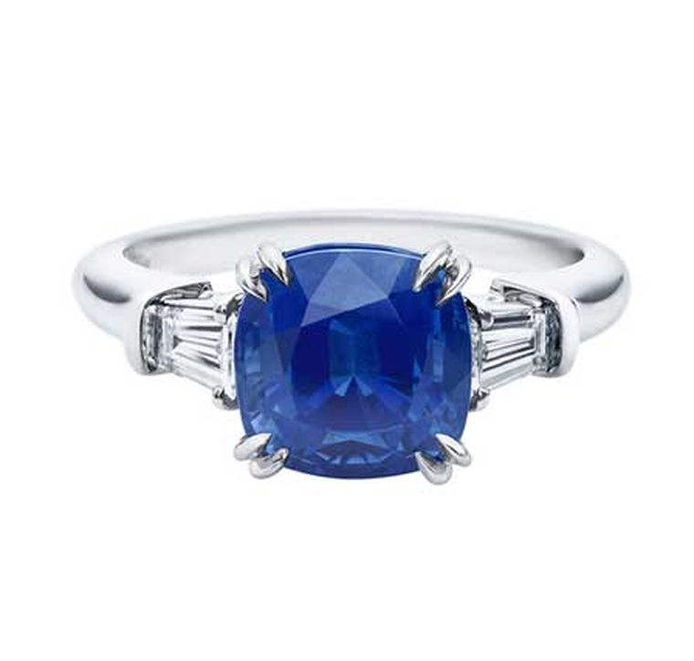Harry Winston Classic Winston cushion-cut sapphire engagement ring in platinum, set with a 3.62ct sapphire with tapered baguette diamond side stones.