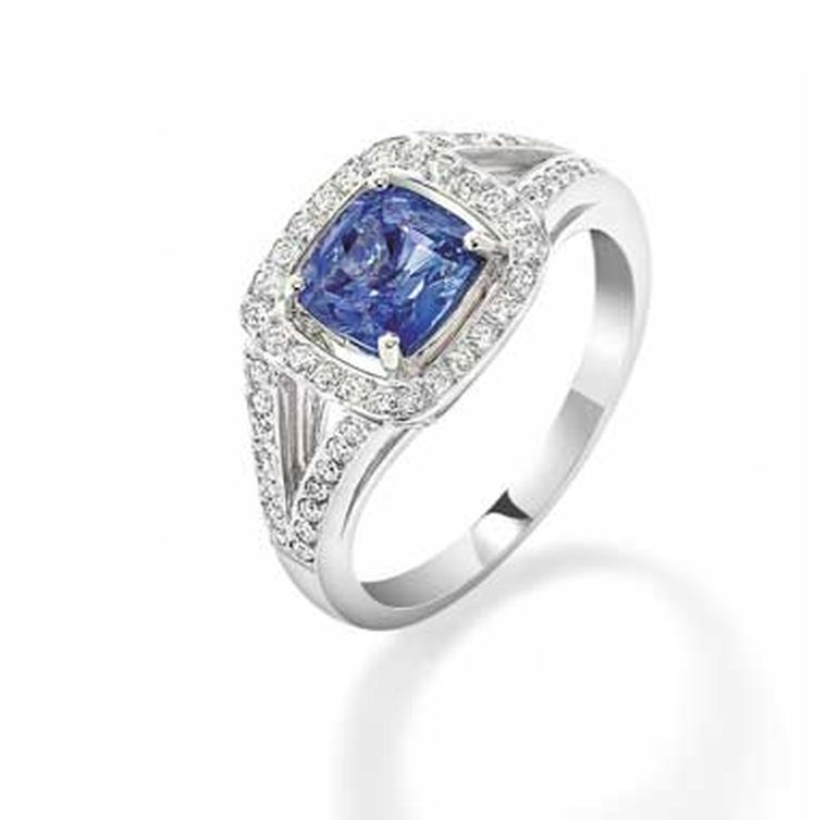 Robinson Pelham Mini Max sapphire engagement ring with a central cushion-cut sapphire and diamonds (available to order).