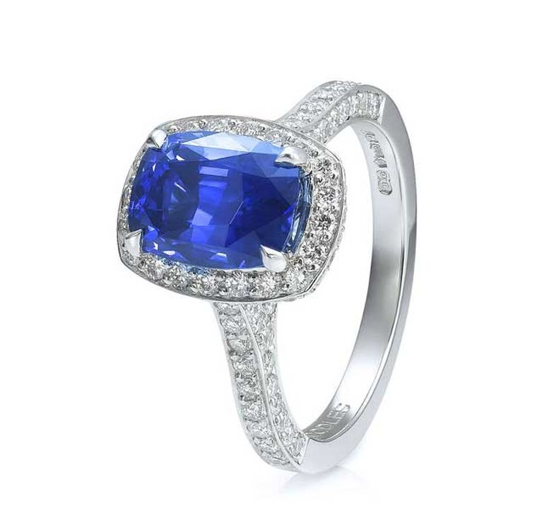 Boodles Vintage cushion-cut sapphire engagement ring in platinum with diamonds (from £17,000).