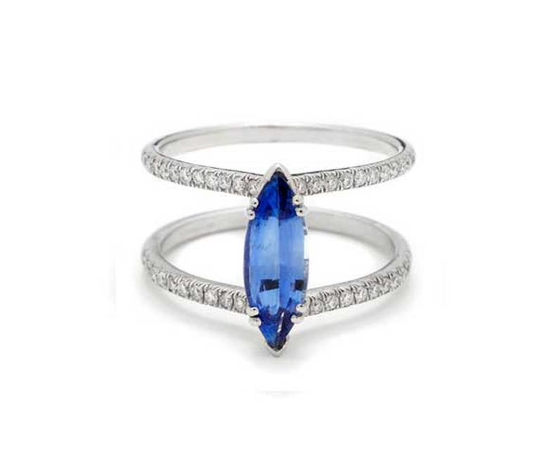 Anna Sheffield Attelage marquise-cut sapphire and diamond ring in white gold, which is designed so that you can wear your wedding band and eternity ring in-between the diamond-set bands (US$9,200).