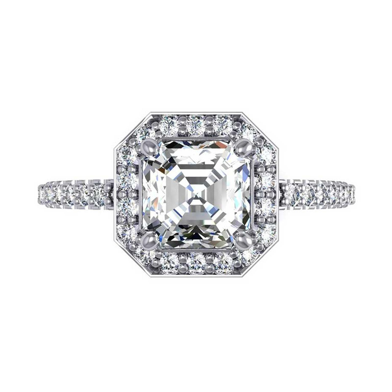 Taylor and Hart Asscher-cut diamond engagement ring.