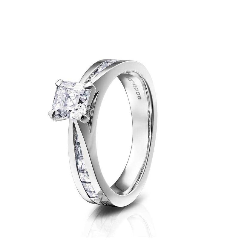 Boodles Eternal Asscher cut diamond engagement ring in platinum (£11,000).