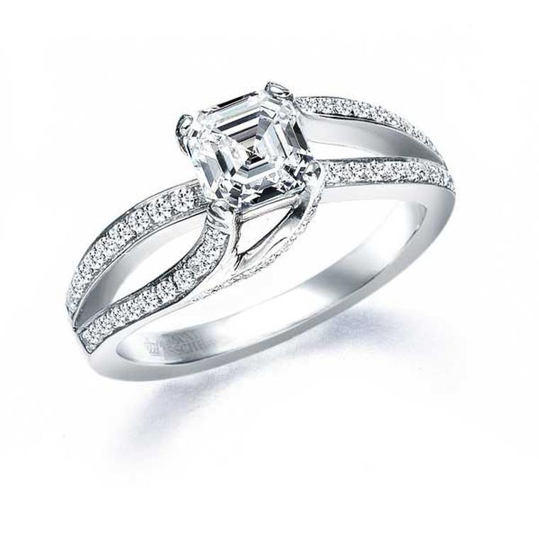 Royal Asscher cut diamond engagement ring.