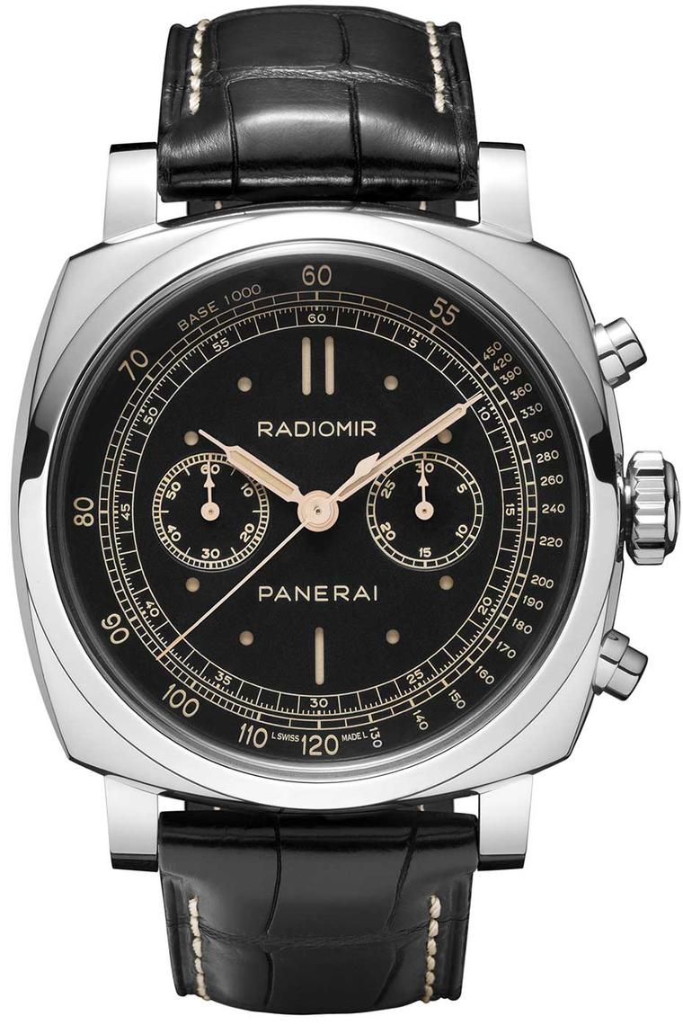 Panerai's Radiomir 1940 Chronograph watch features a large 45mm white gold cushion-shaped case.