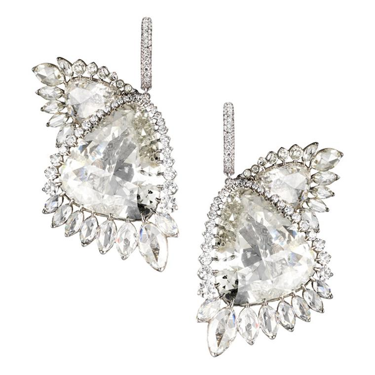 Boghossian Butterfly Wing earrings are made up of two pairs of perfectly symmetrical fancy-cut diamonds, surrounded by brilliant-cut and dazzling pear-cut diamonds as they fan out around each wing.