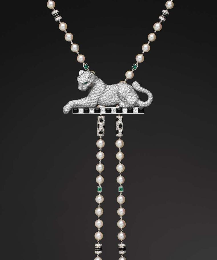 Cartier Panthère de Cartier collection platinum necklace with cultured pearls, onyx, emeralds and diamonds.
