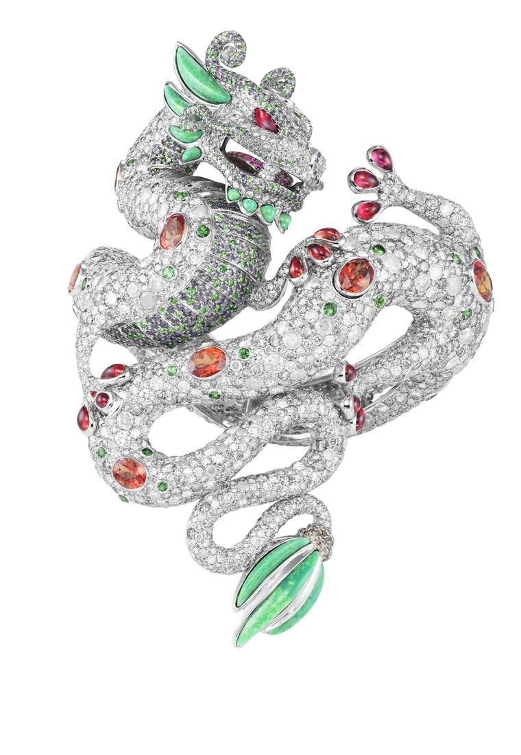 Harumi Klossowska for Chopard Dragon bracelet features rubies, diamonds, emerald and turquoise and fuses the major cultural symbols of the Chinese dragon with the Aztec plumed serpent.