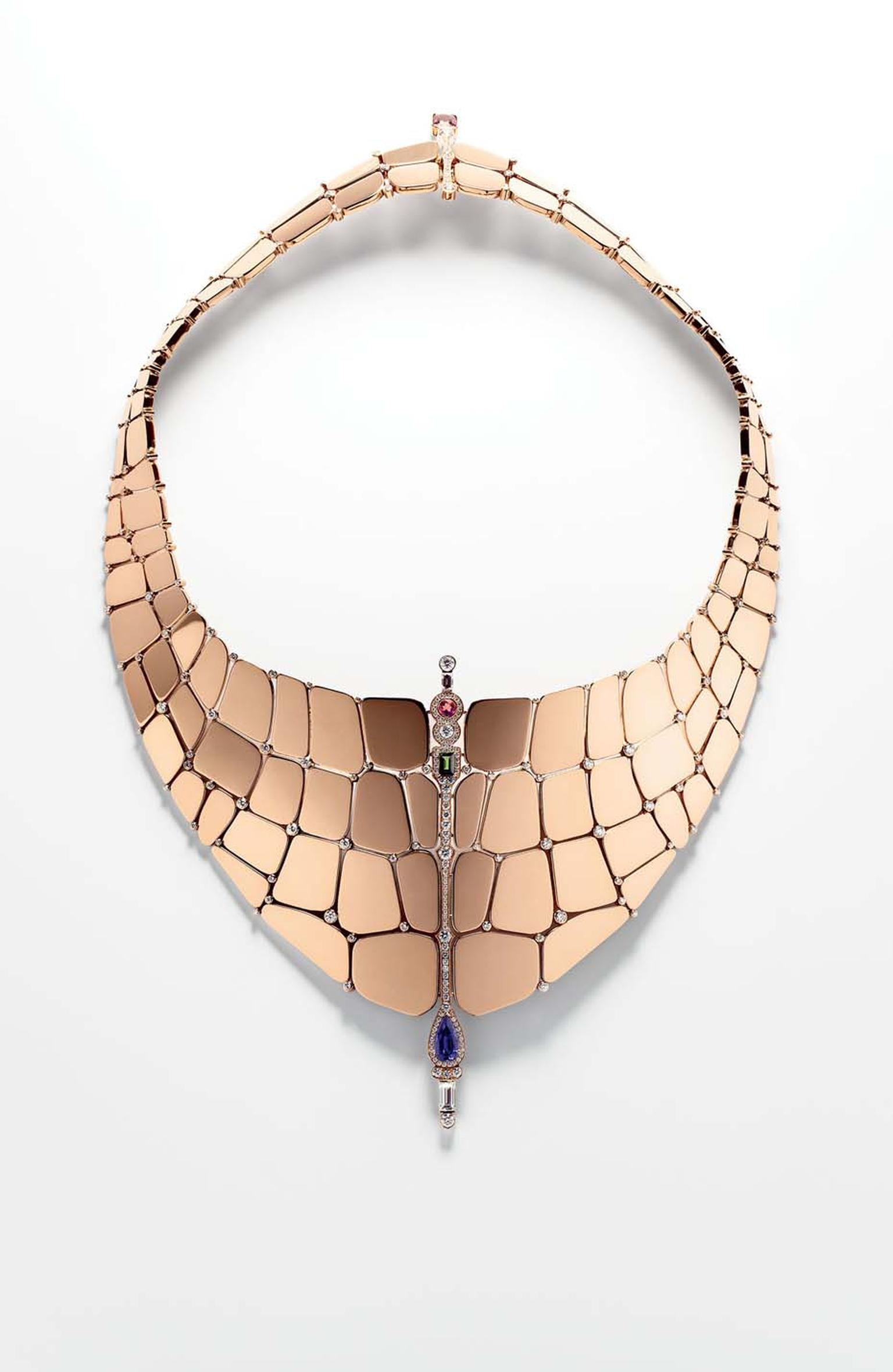 Hermès Niloticus necklace in rose gold, diamonds and coloured stones.