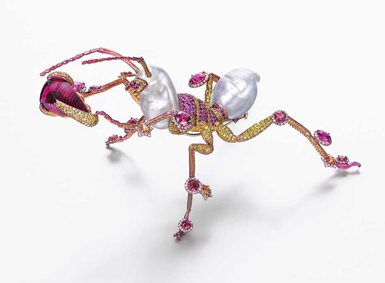 Wallace Chan The Mighty ant brooch featuring a total of 75.94ct pearls, 21.41ct rubellites, yellow sapphires, diamonds, pink sapphires and yellow diamonds.