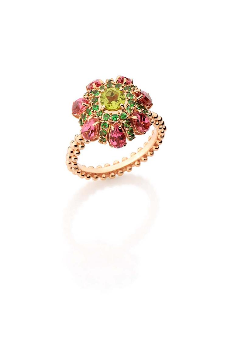 Carla Amorim rose gold Vitral ring with peridot, tsavorite and pink tourmaline.