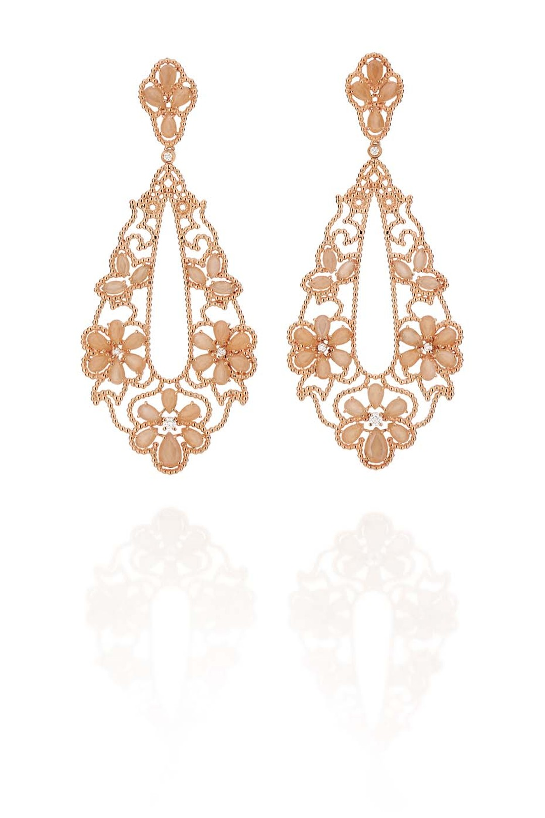 Carla Amorim rose gold Ibirapuera earrings with peach moonstone and white diamonds.