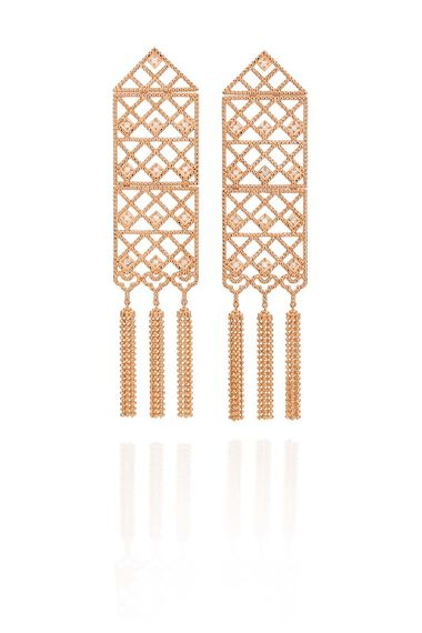 Carla Amorim rose gold Luz earrings with white diamonds.