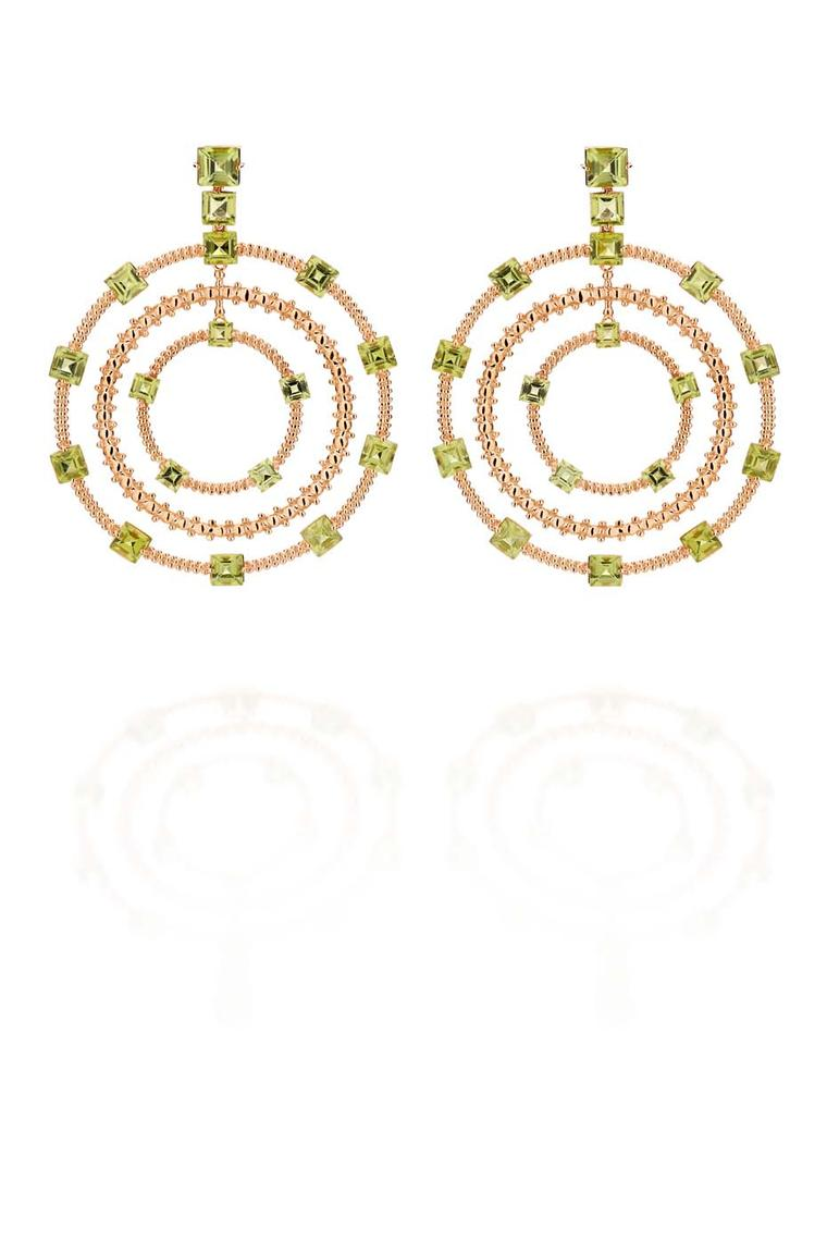 Carla Amorim rose gold Municipal earrings with peridot.
