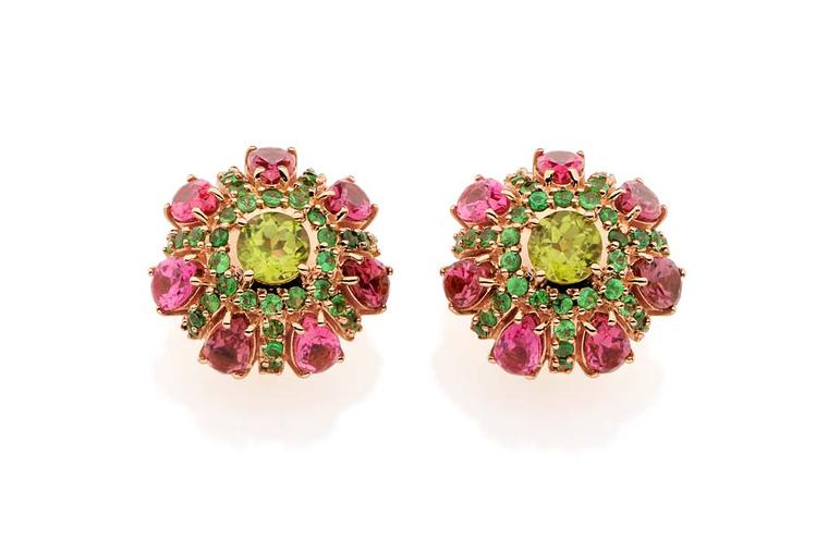 Carla Amorim rose gold Vitral earrings with peridot, tsavorite and pink tourmaline.