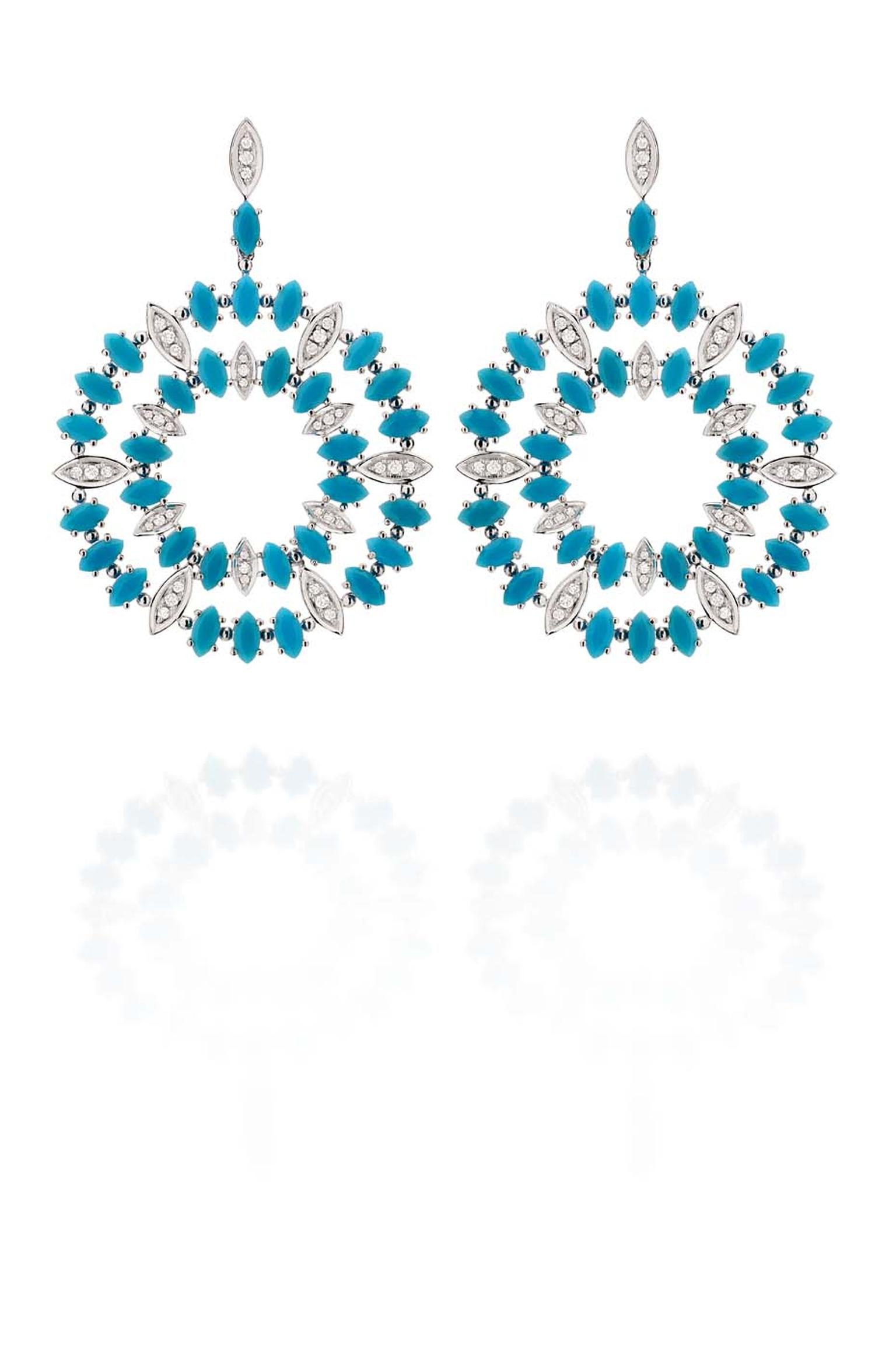 Carla Amorim white gold Aquario earrings with turquoise and white diamonds.
