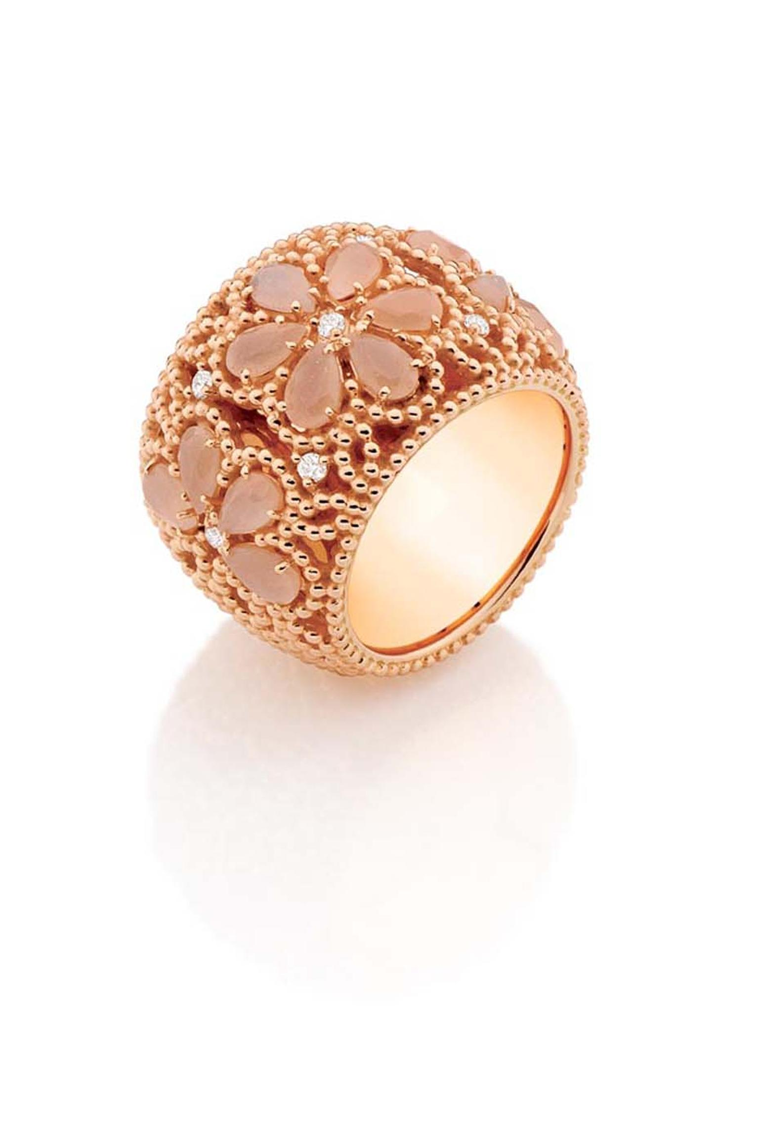 Carla Amorim rose gold Ibirapuera ring with peach moonstone and white diamonds.