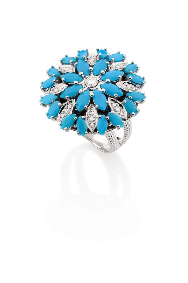 Carla Amorim white gold Aquario ring with turquoise and white diamonds.