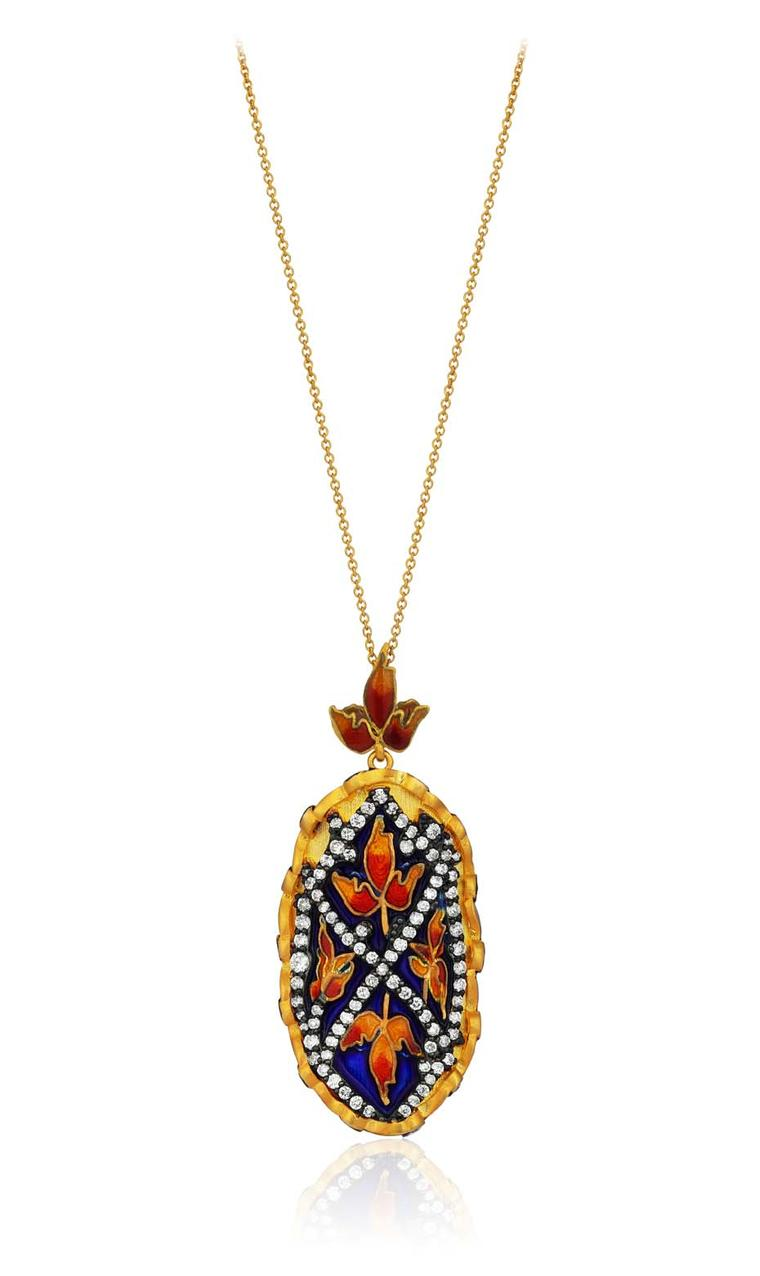 Pinar Oner Gezi necklace with diamonds and floral enameling.