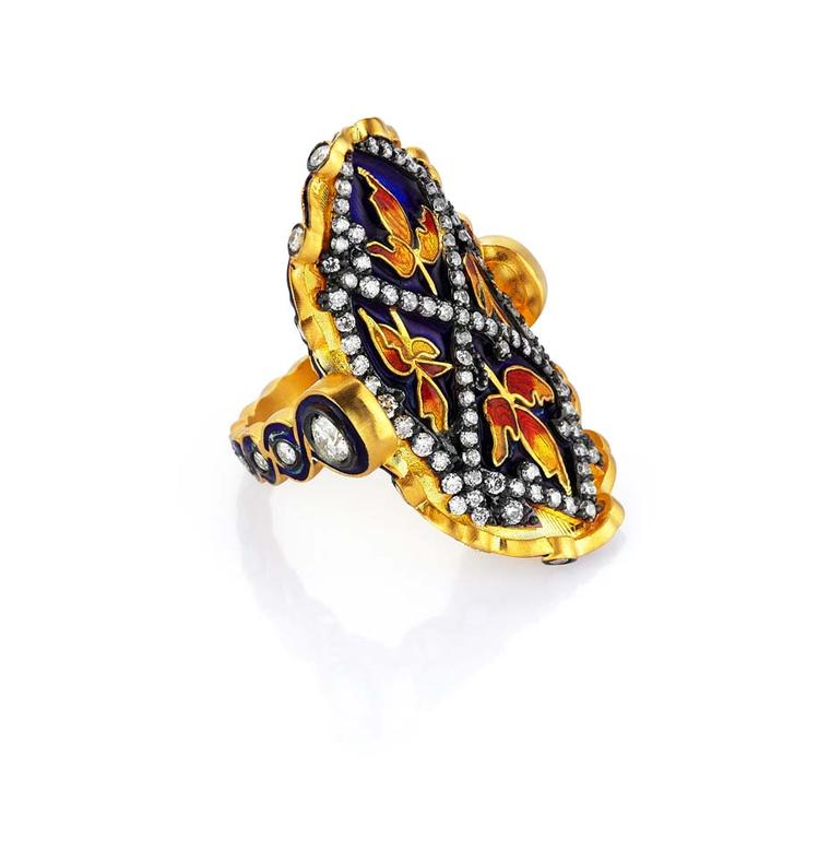 Pinar Oner gold Gezi ring with diamonds and floral enameling.