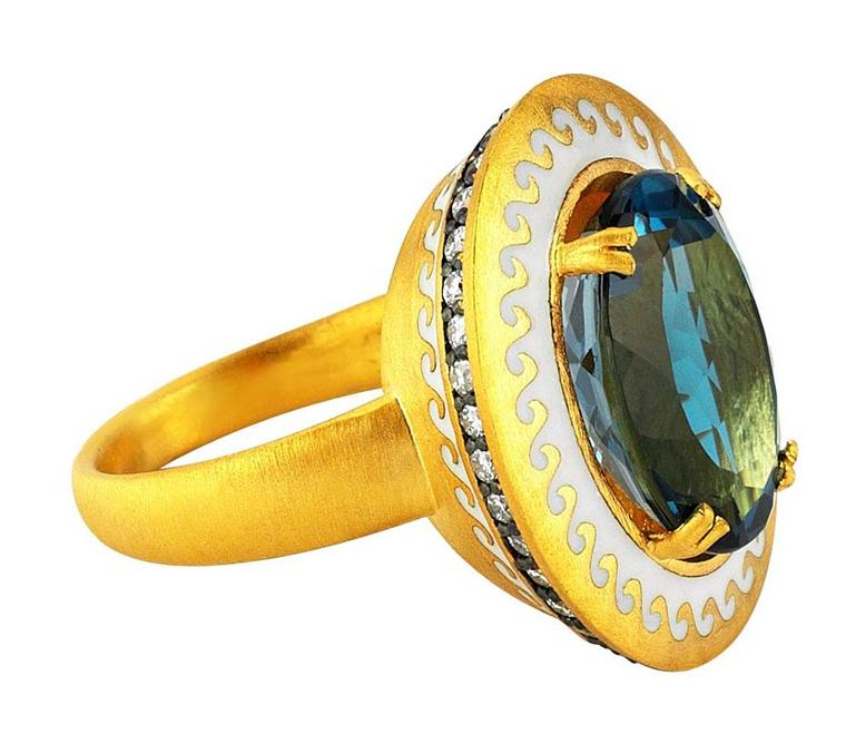 Pinar Oner Ionian collection enameled Mermaid ring in yellow gold set with a London blue topaz.