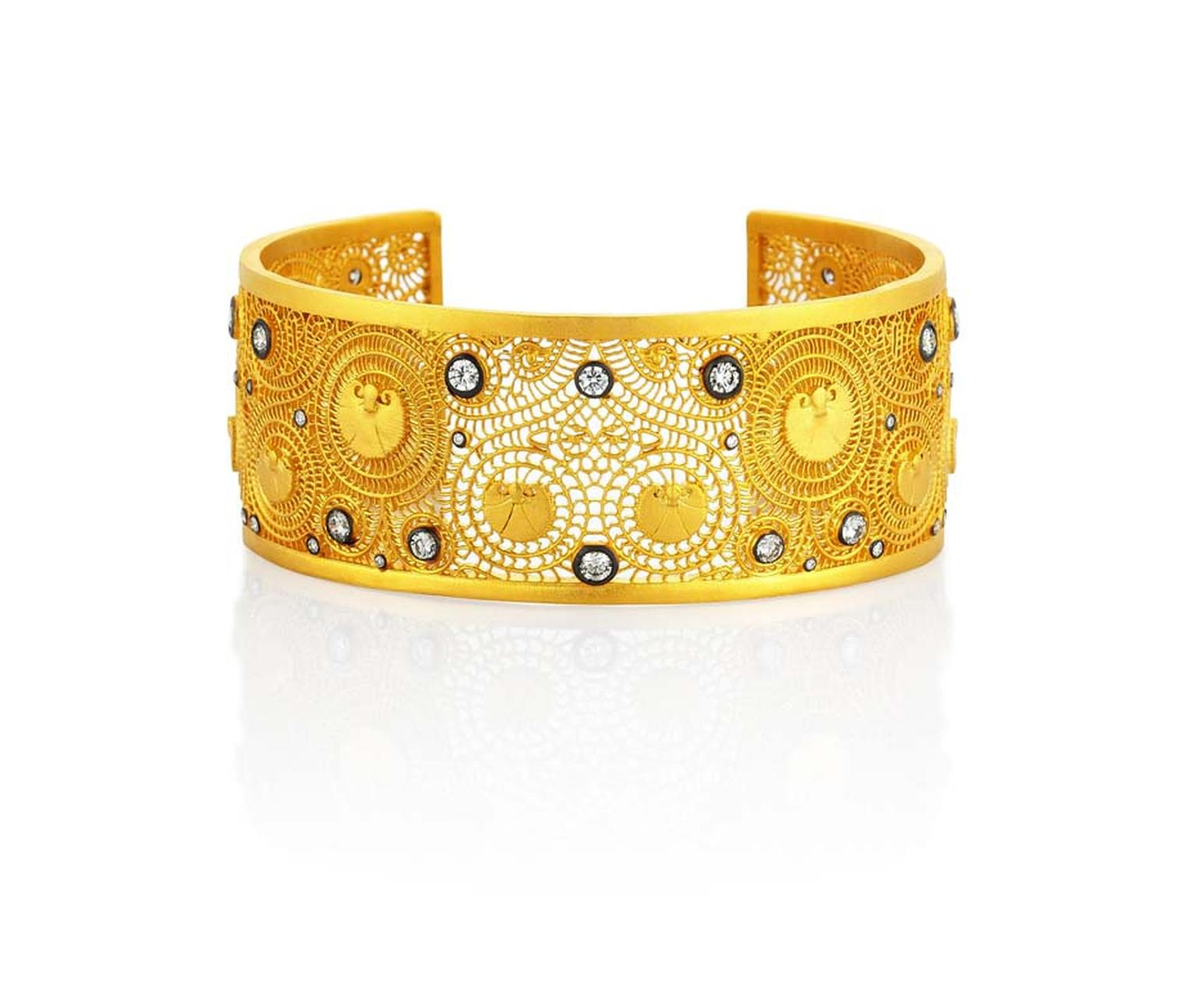Pinar Oner Agape gold cuff with diamonds.