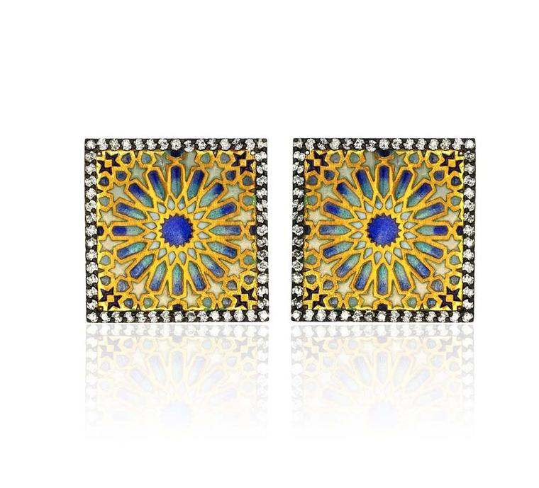 Pinar Oner Euphoria Earrings in yellow gold with diamonds and enameling.