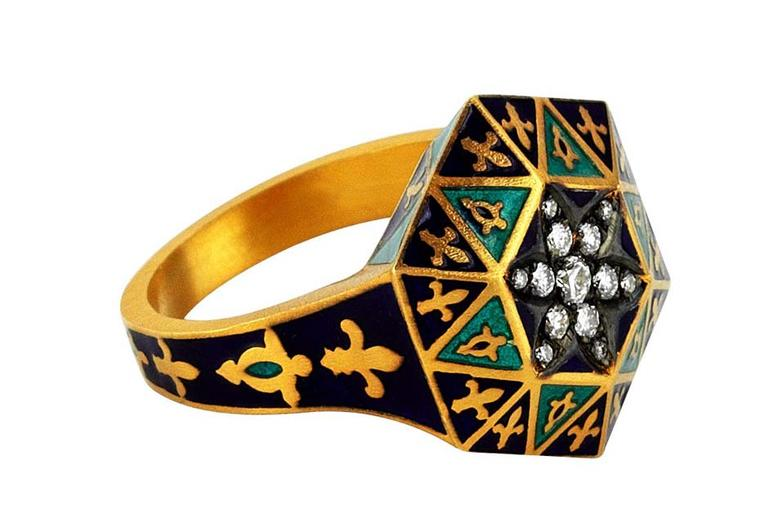 Pinar Oner Symbolism ring from the Byzantine Art collection in yellow gold with diamonds and enameling.
