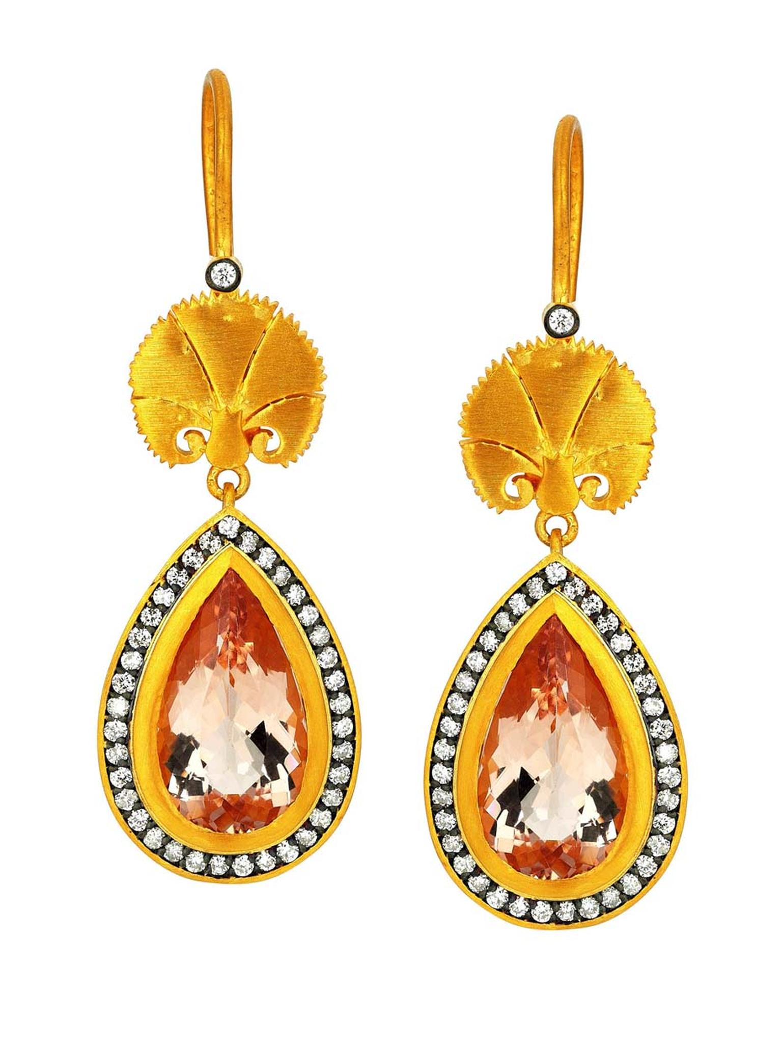 Pinar Oner Wish earrings from the Ottoman Designs collection in yellow gold with diamonds and morganite.