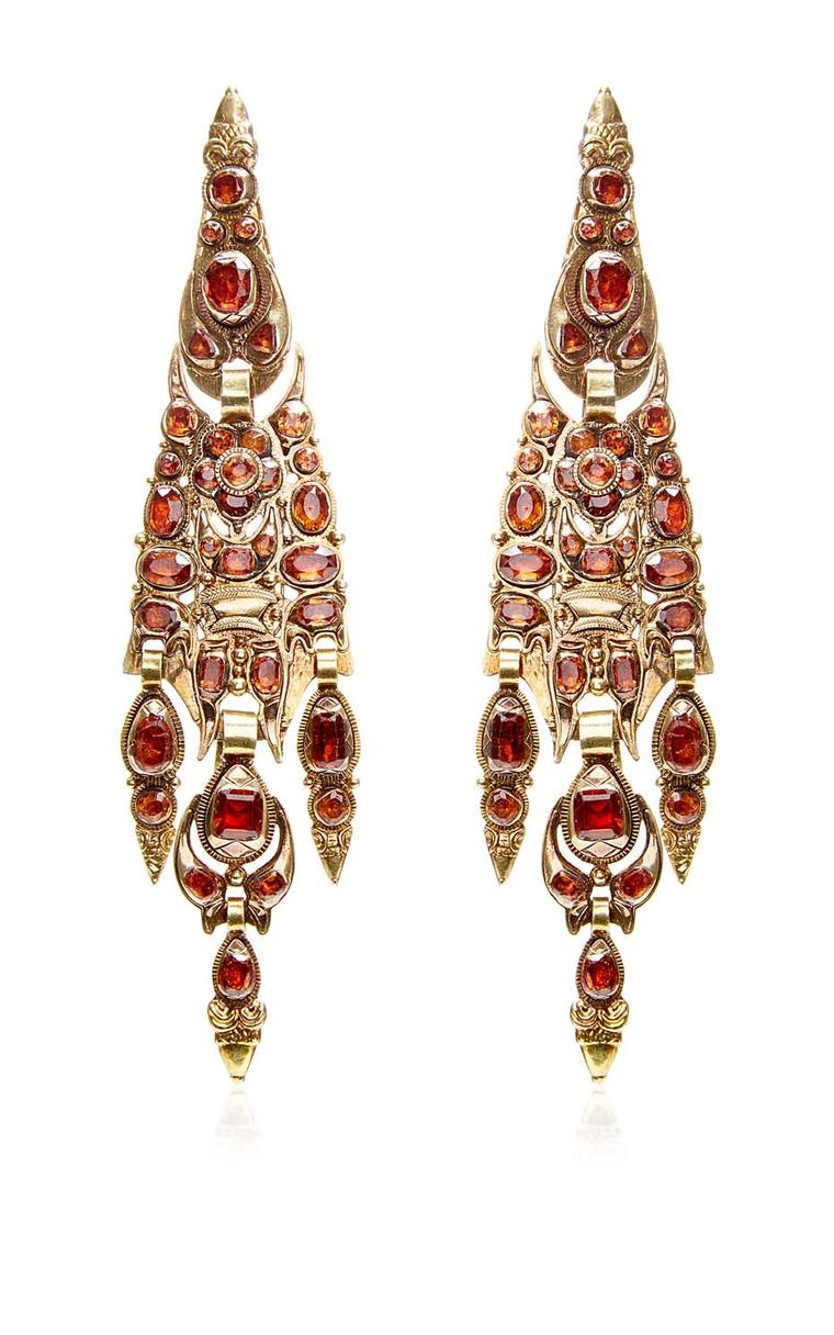 Catalan garnet earrings with a floral motif that date from the late 19th century. Available at Moda Operandi.