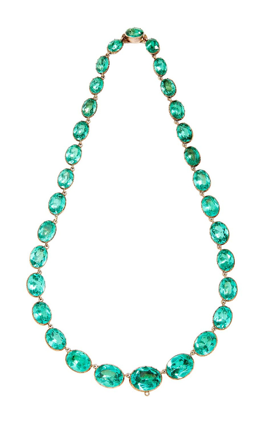 FD Gallery's 19th century antique necklace featuring a series of graduated green paste with a gold foiled back setting. $15,000 at Moda Operandi.