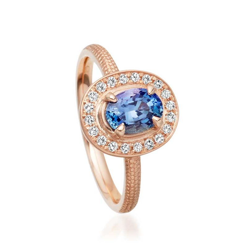 Anne Sportun Periwinkle blue sapphire engagement ring in rose gold, available from Astley Clarke (£3,250).