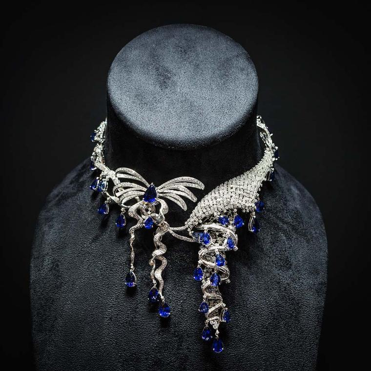 Shawish Princess necklace set with 92.23ct of blue sapphires and 24.83ct of diamonds.