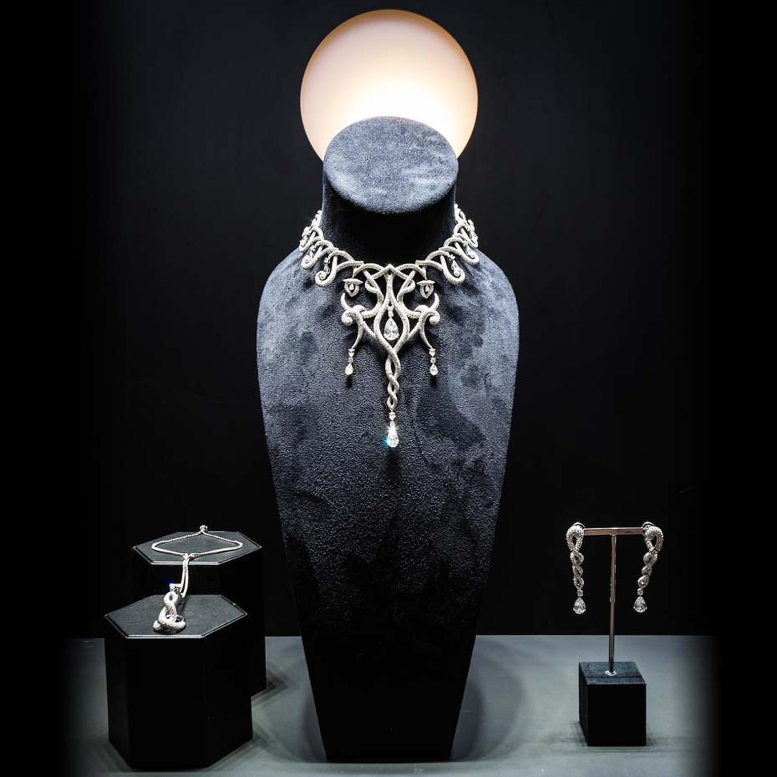 Pieces from Shawish's Moonlight collection, including a necklace set with round and pear-shaped diamonds totalling 66.85ct.