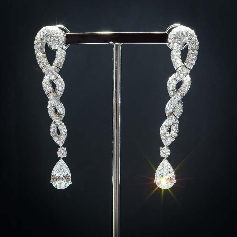 Shawish Moonlight collection earrings set with 347 white diamonds.