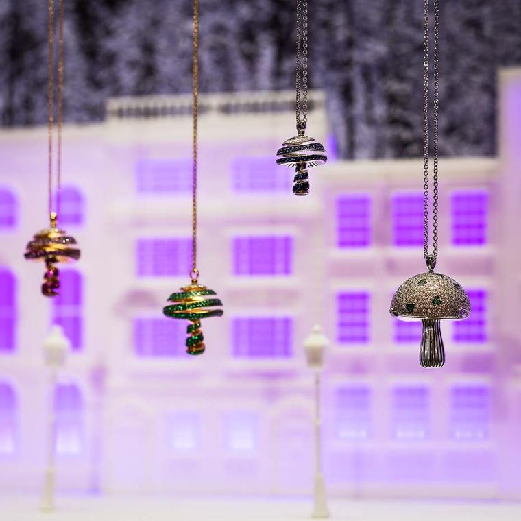 Shawish's Enchanted Forest collection includes Magic Mushroom pendants and earrings, set with precious stones, including white and black diamonds, emeralds, pink and yellow sapphires and amethysts.