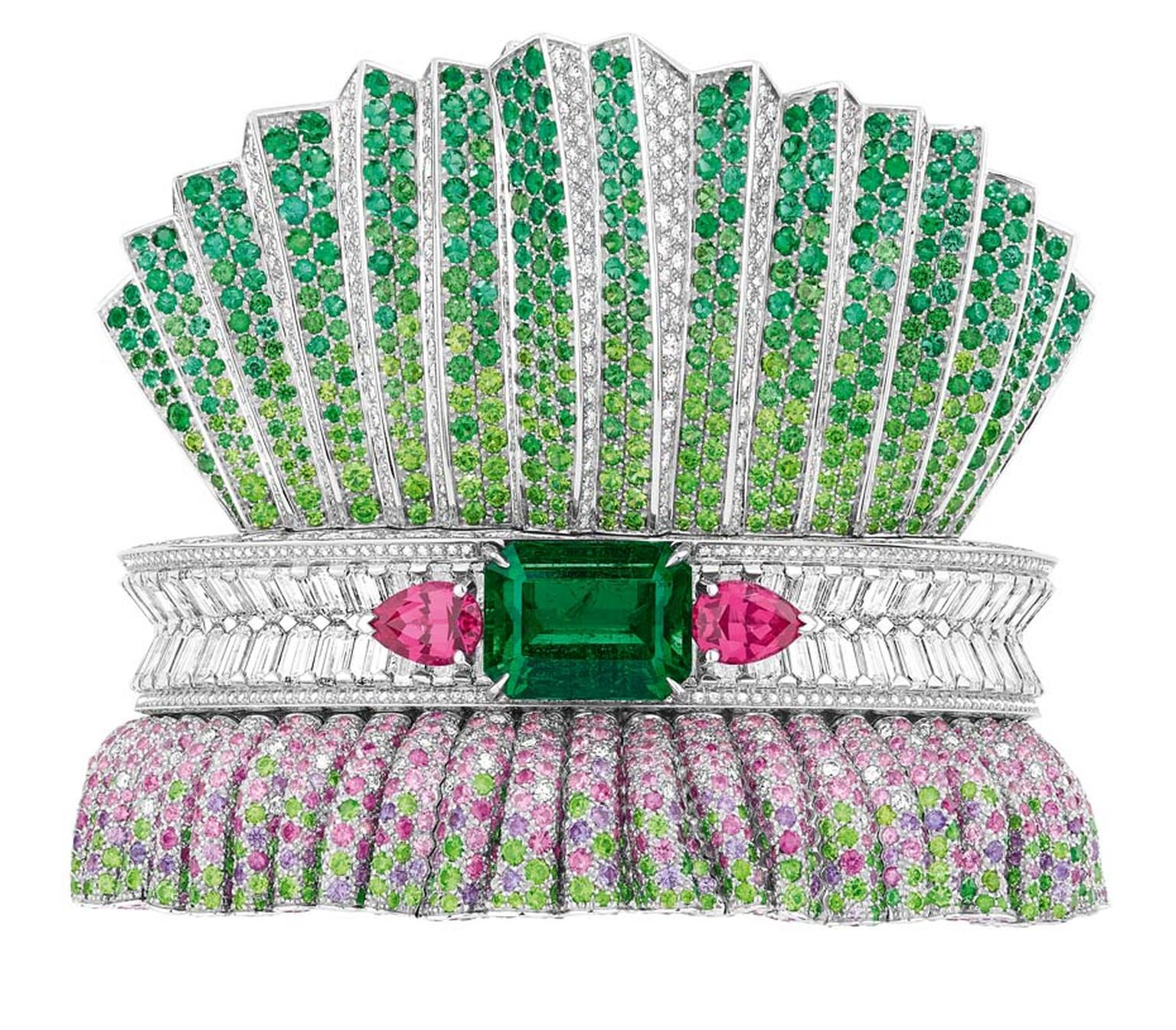 Dior Bar en Corolle Émeraude bracelet featuring white gold, diamonds, pink and purple sapphires, emeralds, demantoid garnets, tsavorite garnets and orangey-pink spinels.