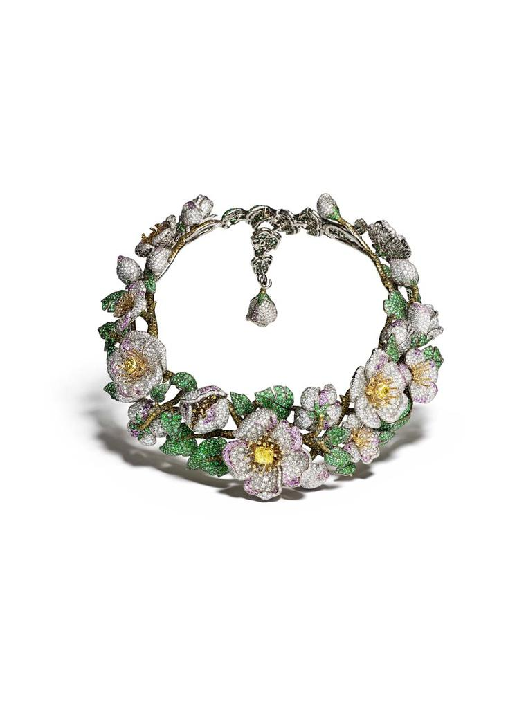 Giampiero Bodino Primavera necklace in white and yellow gold, set with five intense and vivid yellow diamonds, white, grey, yellow and cognac diamonds, pink sapphires and emeralds. Image by: Laziz Hamani