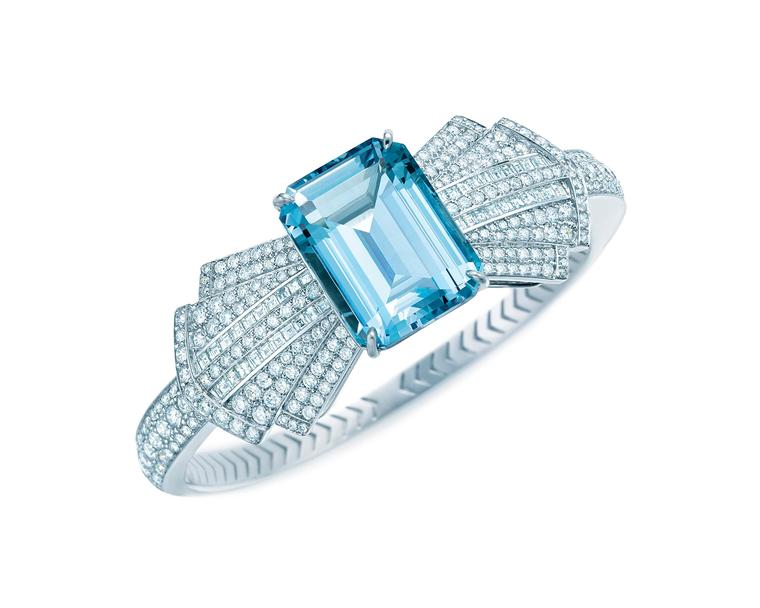 Tiffany & Co. Blue Book Collection platinum bracelet featuring a central emerald cut aquamarine surrounded by a bow tie of diamonds