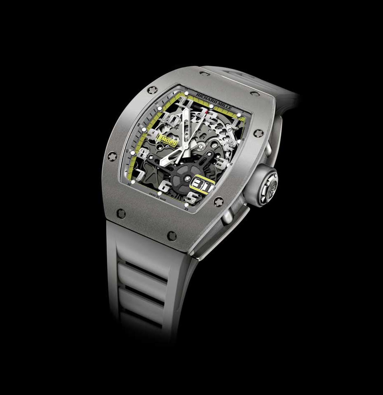 Also available the London boutique is the sleek and stylish RM 029 All Grey Yellow Flash, a declination of Richard Mille's famous RM 010, with a big date window and the exclusivity factor of only being available in the brand's boutiques (£63,000).