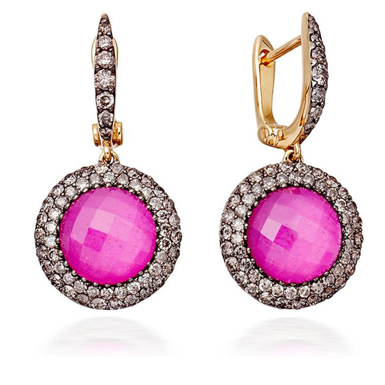 Astley Clarke Mini Connie earrings with slices of ruby illuminated by a chequerboard-cut quartz top layer and surrounded by a double halo of pavé grey diamonds set on black rhodium-plated yellow gold.