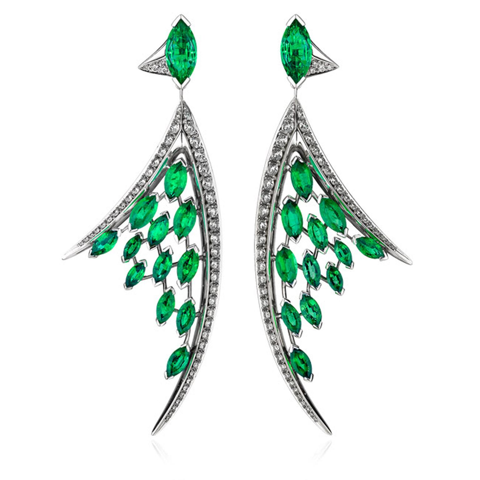 Shaun Leane's Aerial earrings feature two marquise-cut Gemfields' Zambian emeralds from which descend two fluid lines of white diamonds leaving a scattering of emeralds in their wake.