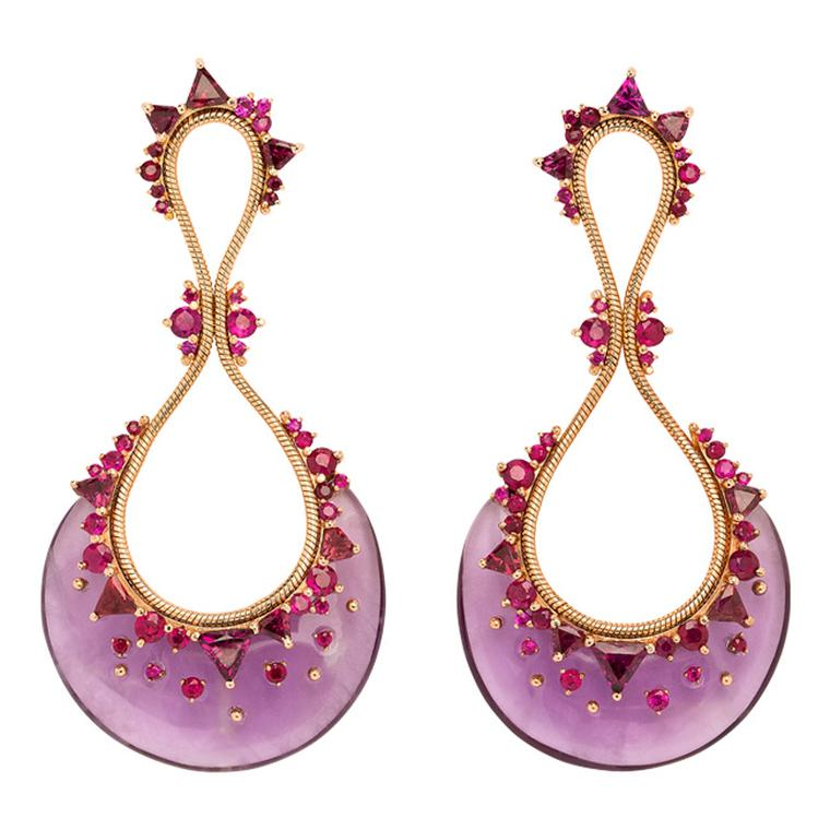 Fernando Jorge Fusion earrings featuring lilac rhodolite interspersed with tonal amethysts and rubies.