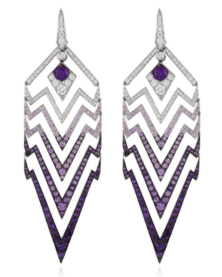 Stephen Webster Lady Stardust chandelier earrings in white gold featuring geometric zigzags with white diamonds turning into ever deepening purple amethysts for a dramatic dip-dye effect.