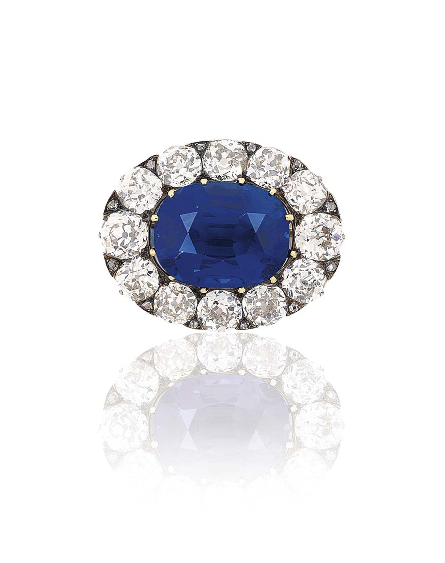 The star of Christie's Important Jewels sale on 26 November 2014 was Lot 444, a remarkable 14.66ct Kashmir sapphire, formerly the property of Evelina Rothschild, set in a Belle Epoque brooch surrounded by a cluster of old-cut diamonds. It sold for £1,398,