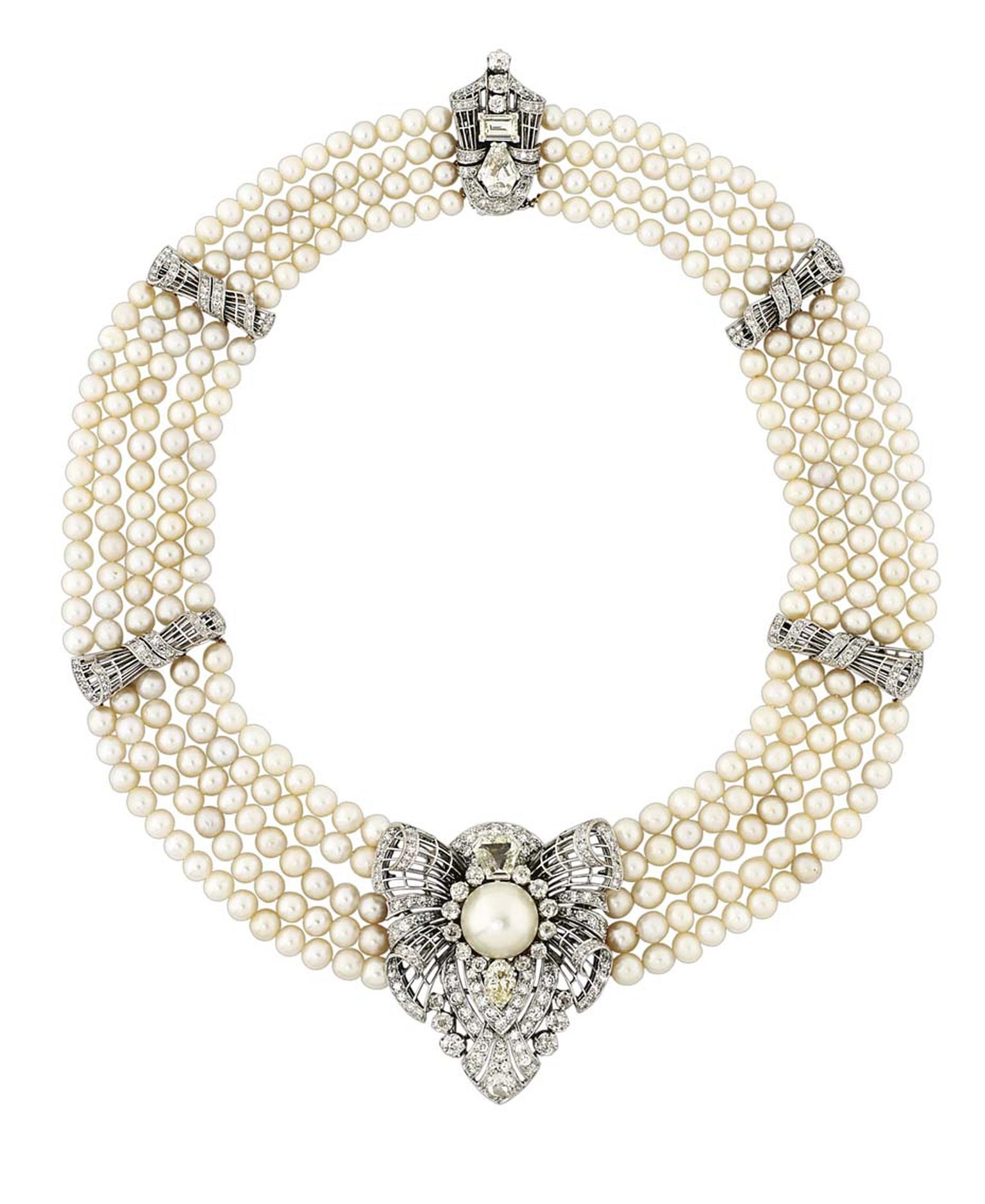 This five-strand natural pearl necklace with a central diamond-set pendant that can be removed and worn as a brooch, sold for £182,500 (estimate: £80,000-100,000) sold at Christies in November 2014.