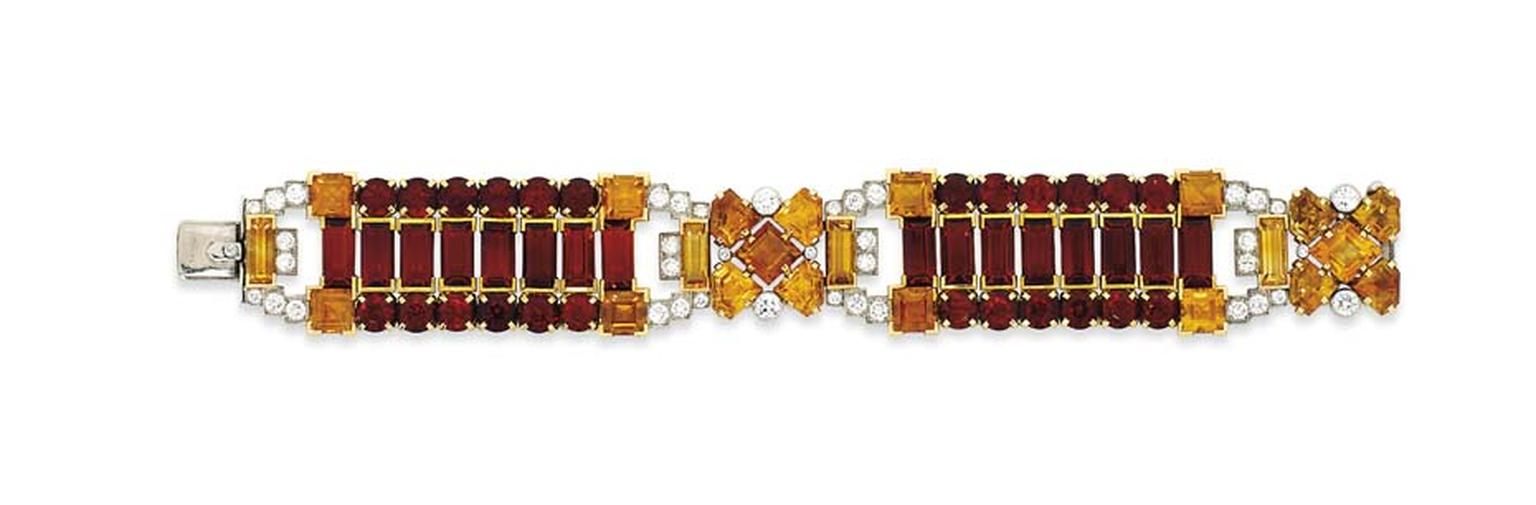 Lot 234, a warm, honey-hued citrine bracelet by Cartier, sums up the elegance of the Art Deco era (estimate: £25,000-35,000). Christie's Important Jewels Sale on 26 November at King Street in London.