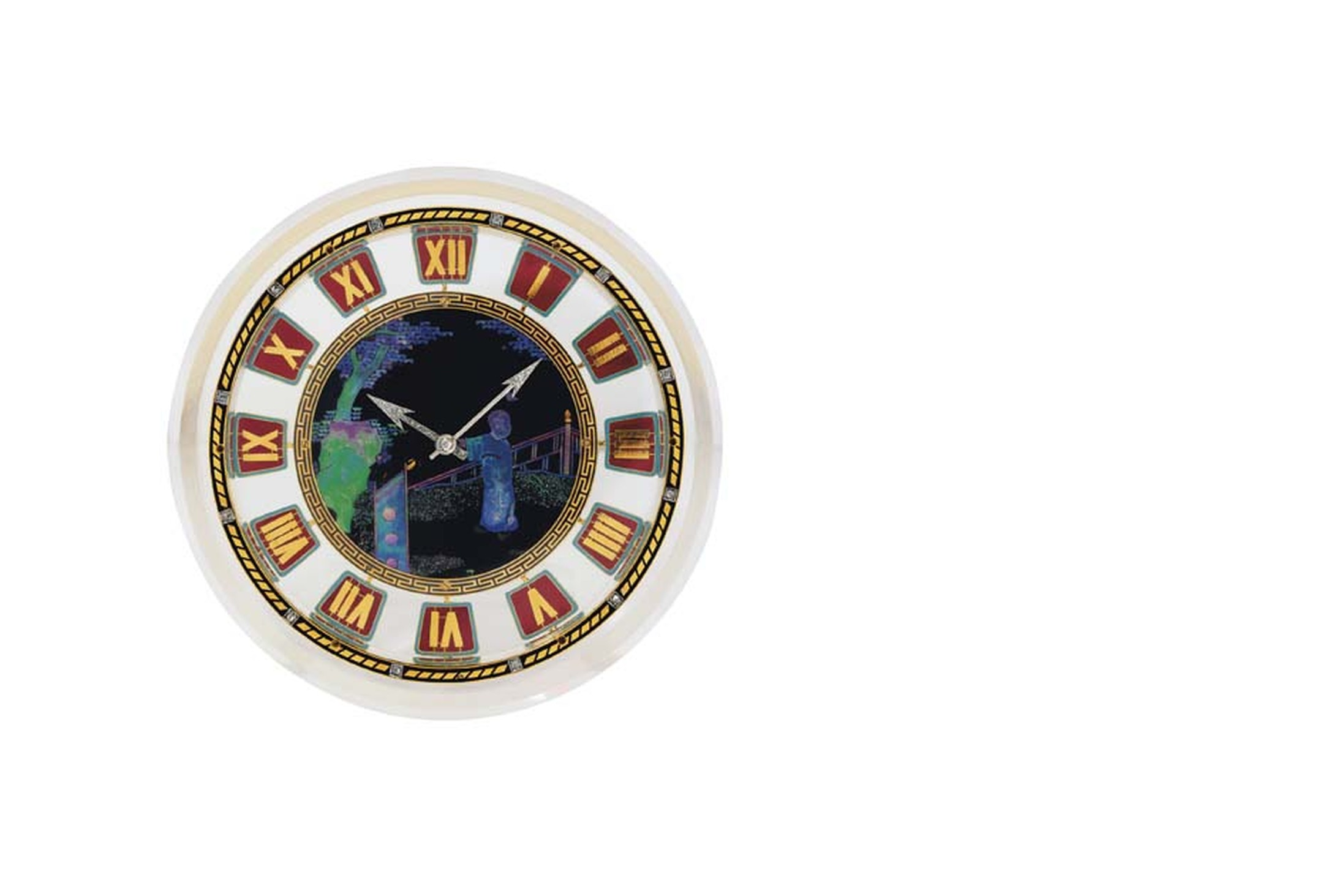 Christie's Lot 239 Cartier rock crystal, enamel, mother-of-pearl and diamond clock dating from circa 1925 (estimate: £40,000-60,000).
