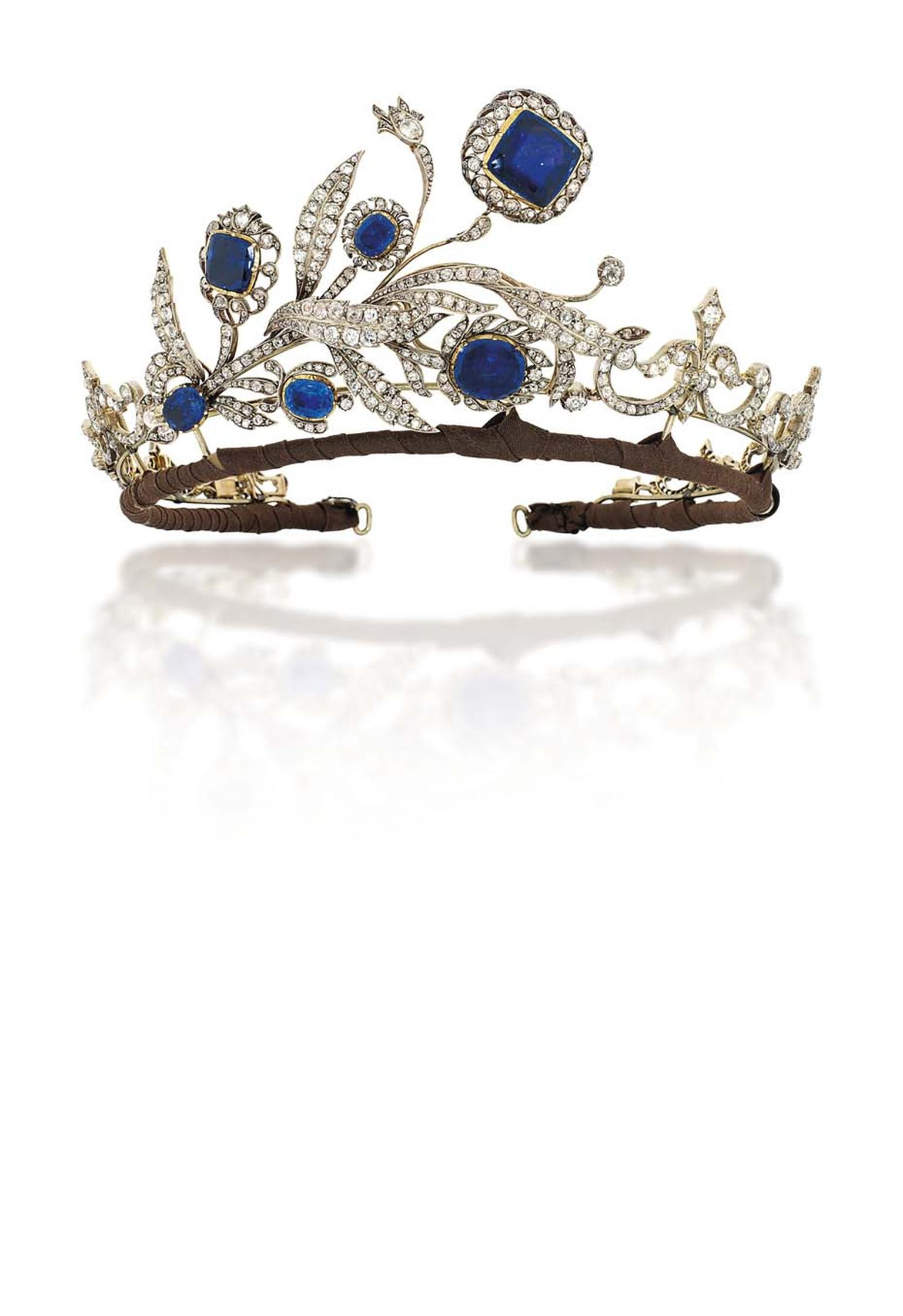 Lot 248, a sapphire and diamond tiara dating from 1890, is regal yet delicate (estimate: £30,000-40,000).